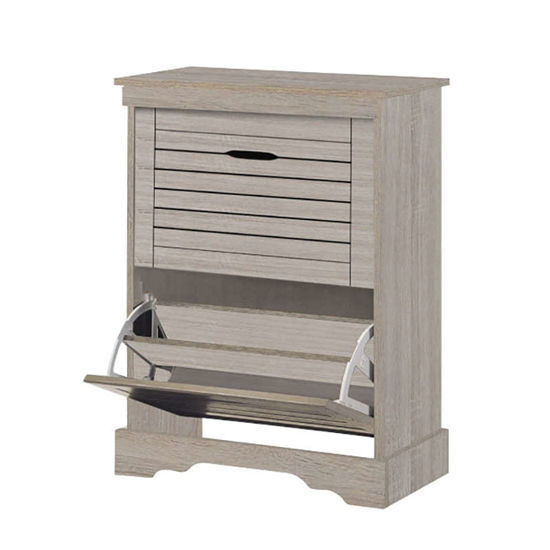 Εικόνα της Παπουτσοθήκη ξύλινη 2 συρτάρια 60Χ30Χ82 S. oak
