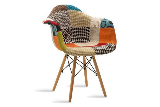 Εικόνα της Πολυθρόνα Julita pakoworld ύφασμα patchwork πολύχρωμο - φυσικό