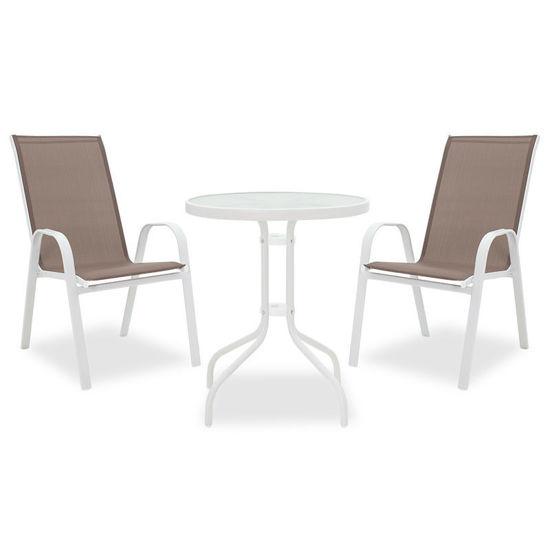 Εικόνα της Τραπεζαρία κήπου Calan-Watson σετ 3τεμ pakoworld μέταλλο λευκό-textilene καφέ