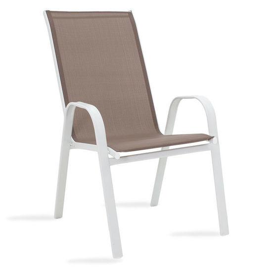 Εικόνα της Πολυθρόνα κήπου Calan pakoworld μέταλλο λευκό-textilene καφέ